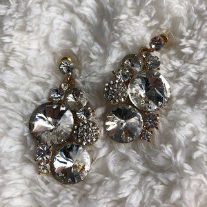 Jewelry - Goldtone Clear Rhinestone Dangling Earrings